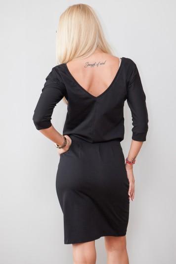 Štýlové čierne šaty s viazaním okolo pásu