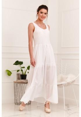 Letné, vzdušné šaty vpredu s polkruhovým, biele