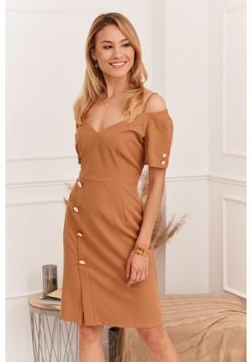 Elegantné šaty s nápaditým výstrihom na tenkých ramienkach, hnedé
