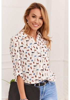 Klasická dámska košeľa s kontrastnými vzormi, krémová/viacfarebná