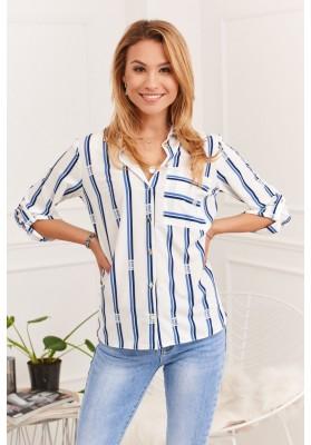 Klasická dámska košeľa s kontrastnými vzormi, krémová/ modrá