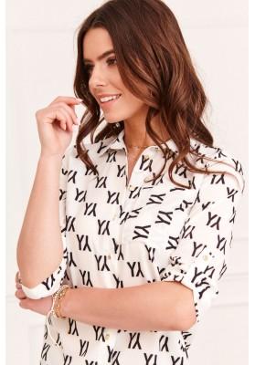 Klasická dámska košeľa s kontrastnými vzormi, krémová/čierna
