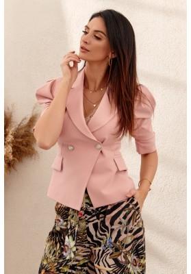 Elegantné, moderné, krátke sako s golierovým výstrihom, ružové