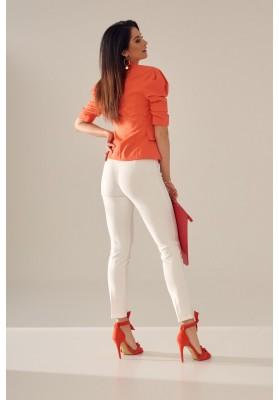 Elegantné, moderné, krátke sako s golierovým výstrihom, oranžové