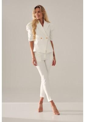 Elegantné, moderné, krátke sako s golierovým výstrihom, biele