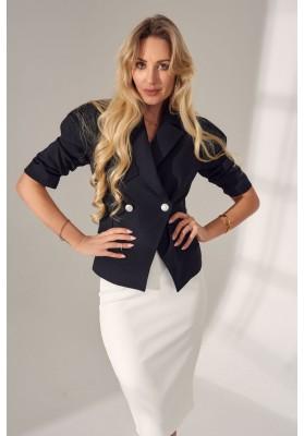 Elegantné, moderné, krátke sako s golierovým výstrihom, čierne