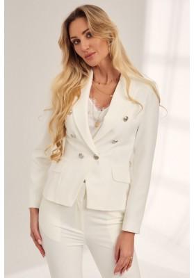 Elegantné, sako s bočnými ozdobnými klapkami, biele