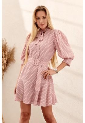 Nadčasové šaty s bodkovanou potlačou a opaskom, ružové