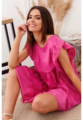 Bavlnené asymetrické, letné šaty s predĺženým zadným dielom, ružové