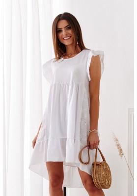 Bavlnené asymetrické, letné šaty s predĺženým zadným dielom, biele