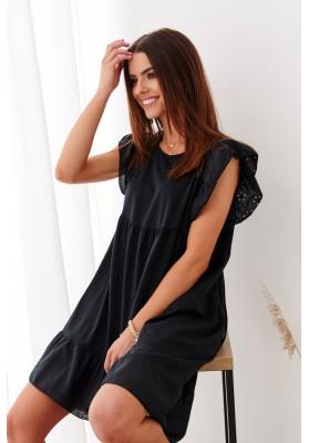 Bavlnené asymetrické, letné šaty s predĺženým zadným dielom, čierne