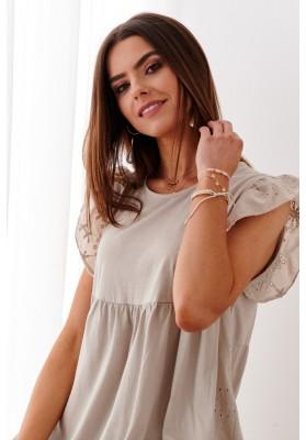 Bavlnené asymetrické, letné šaty s predĺženým zadným dielom, hnedé