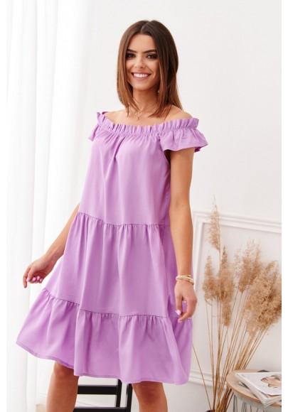 Oversize, fialové šaty s lodičkovým výstrihom