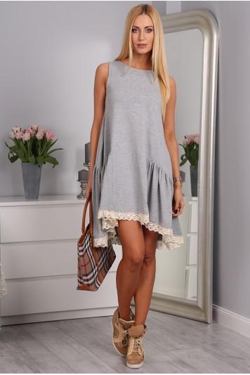 Sivé šaty bavlnené