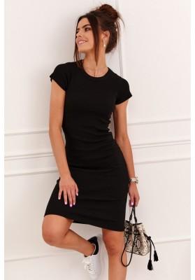 Fantastické, jednoduché šaty s krátkymi rukávmi, čierne