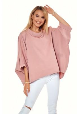 Oversize top s ¾ rukávmi a asymetrickým strihom, ružový