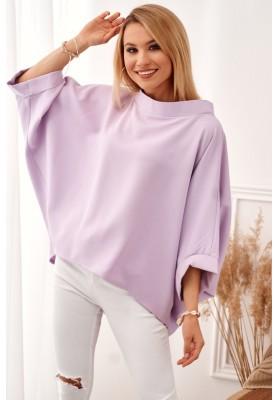 Oversize top s ¾ rukávmi a asymetrickým strihom, fialový