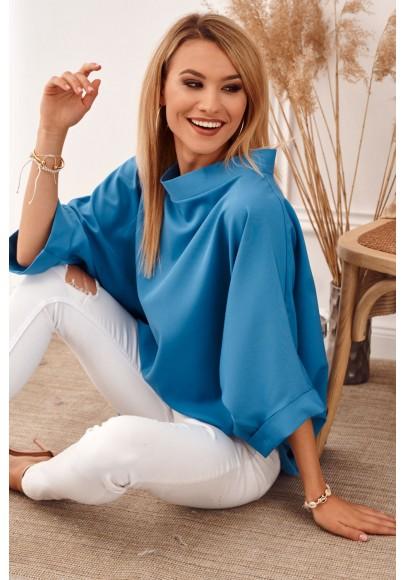 Oversize top s ¾ rukávmi a asymetrickým strihom, modrý