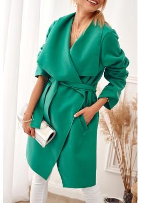 Štýlový, zelený kabát s veľkolepým širokým golierom