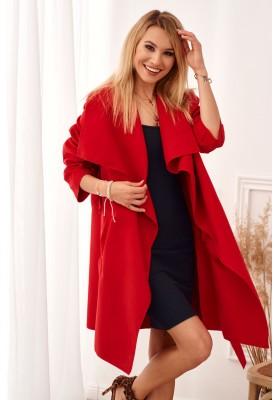 Štýlový, červený kabát s veľkolepým širokým golierom