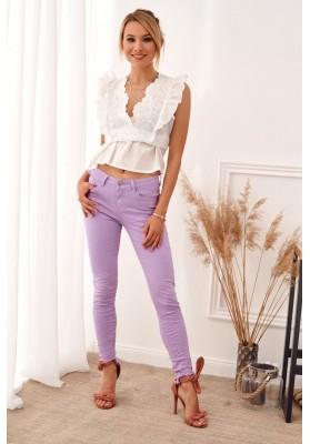 Štýlové nohavice v krásnej fialovej farbe