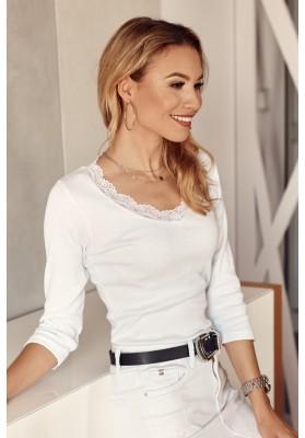 Nadčasové, biele tričko s ¾ rukávom