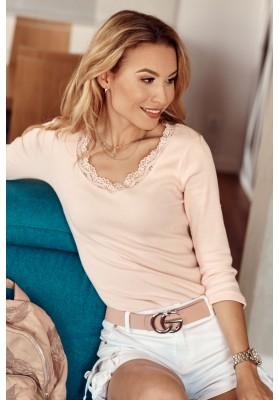 Nadčasové, ružové tričko s ¾ rukávom