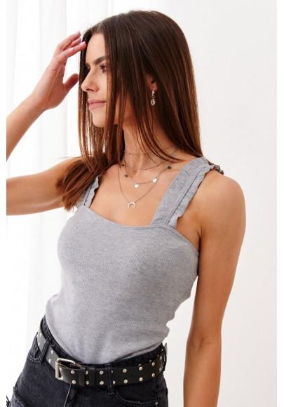Jednoduché, štýlové tielko na hrubšie ramienka, sivé
