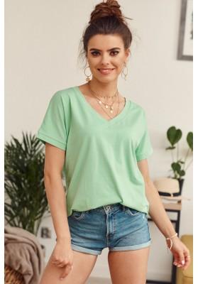 Jednoduché voľné tričko s krátkym rukávom a V- výstrihom, zelené