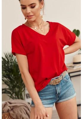 Jednoduché voľné tričko s krátkym rukávom a V- výstrihom, červené
