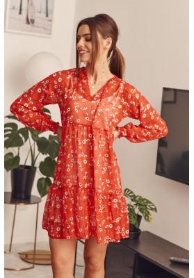 Kvetinové šaty s dlhým rukávom, červené