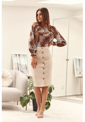 Sukňa z polyestru s malým rázporkom a gombíkmi, béžová