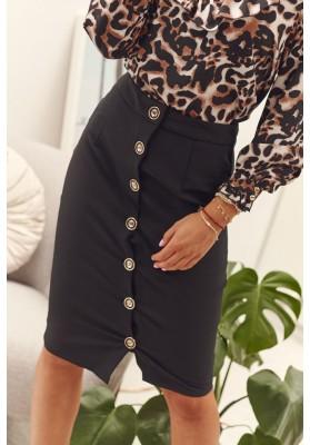 Sukňa z polyestru s malým rázporkom a gombíkmi, čierna