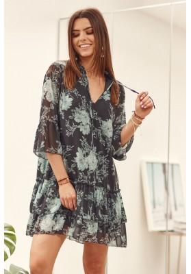 Voľné šaty s potlačou, dĺžkou nad kolená, čierna/zelená