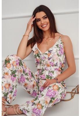 Kvetinový overal na ramienka, s dlhými rozšírenými nohavicami