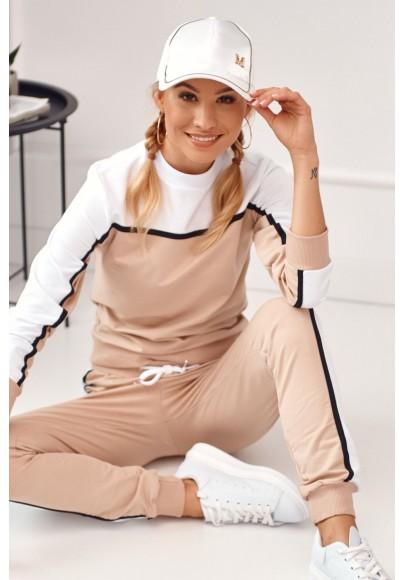 Pútavá dámska tepláková súprava s dlhými nohavicami, béžová