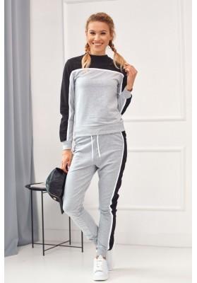 Pútavá dámska tepláková súprava s dlhými nohavicami, sivá