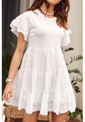 Biele bavlnené šaty s okrúhlym výstrihom