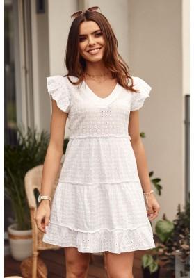 Bavlnené šaty s V výstrihom a krátkym rukávom, biele