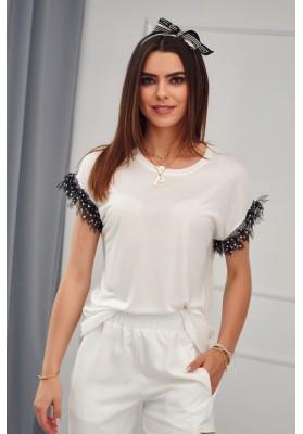 Predĺžené, béžové, moderné tričko s krátkym rukávom
