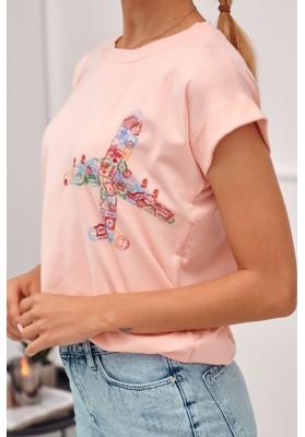 Nadčasové tričko s potlačou lietadla, lososové