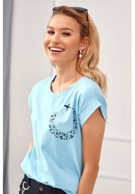 Tričko s potlačou letiaceho lietadla, modré