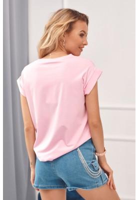 Tričko s potlačou letiaceho lietadla, ružové