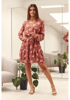 Volánové, kvetované, ružové, krátke šaty