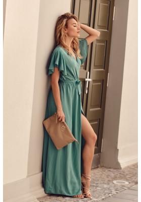 Maxi šaty s vysokým rozparkom na bokoch, tmavozelené