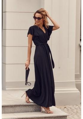 Maxi šaty s vysokým rozparkom na bokoch, čierne