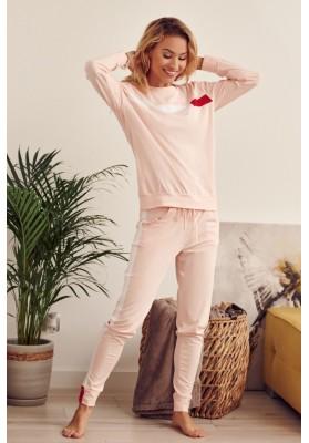 Bavlnená dámska tepláková súprava s dlhým rukávom, ružová