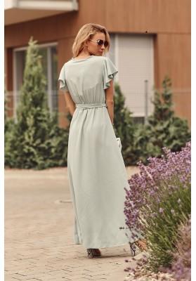 Maxi šaty s vysokým rozparkom na bokoch, zelené