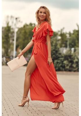 Maxi šaty s vysokým rozparkom na bokoch, oranžové