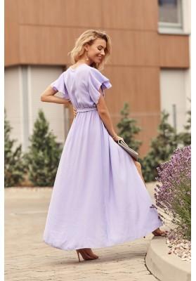 Maxi šaty s vysokým rozparkom na bokoch, fialové